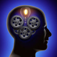 Brain with gears and lamp image